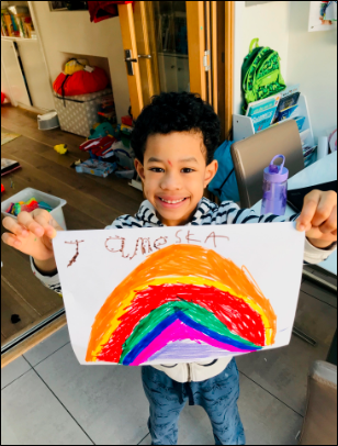Rainbows for a community of home learners 2 March 2020