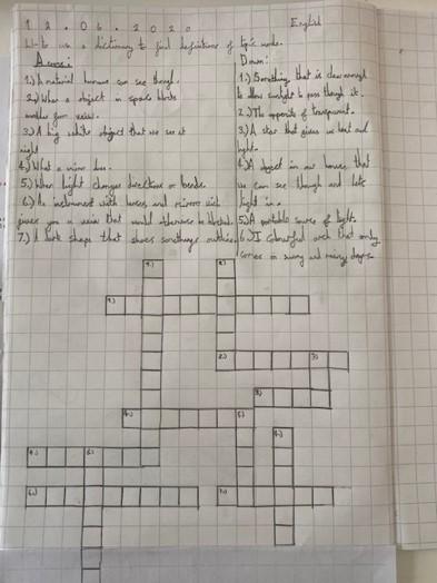 Y3 Science crosswords June 2020
